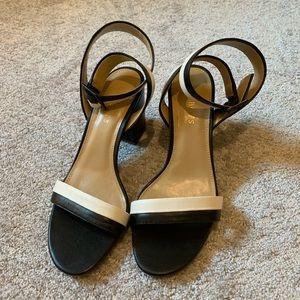 "Talbots Size 8.5 Black/White 3"" Strappy Sandal"